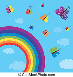 Rainbow and butterflies background funny design