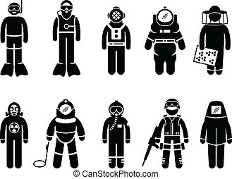 Protective Suit Gear Uniform Wear - A set of people...
