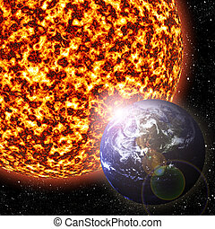 Earth and Sun - Earth revolving around the sun - 3D...