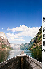 Boat on Fjord - An old boat on a majestic norwegian fjord