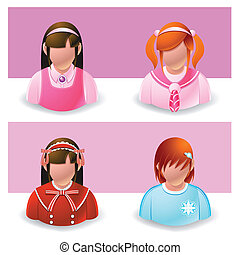 people icon : girl and teenage - Illustration of people...