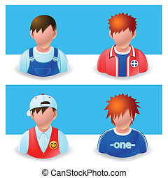 people icons : boy and teenage - Illustration of people...