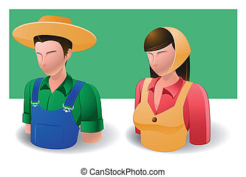 people icons : farmer - Illustration of people icons for...