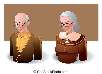 people icons : oldman and oldwomen - Illustration of people...