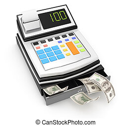 cash register isolated on white 3d rendered image