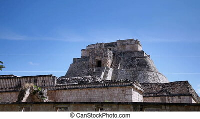 time-lapse of the mayan ruins at uxmal, mexico. the mayans...