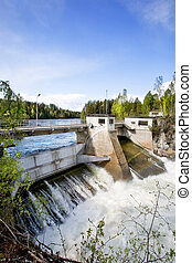 Hydro Power Station - A hydro electric plant on a river