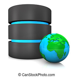 Database Globe - Database with globe on the white...