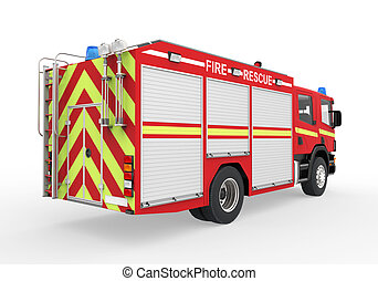 Fire Truck Isolated on White Background