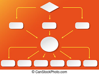 Flussdiagramm Breit Orange Background - Flowchart with with...