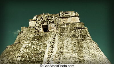 timelapse shot of the mayan ruins at uxmal, mexico the...