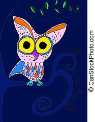 Winter Night Owl - A winter night owl perched on branches an...