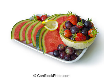 plate with fresh fruit isolated on white background