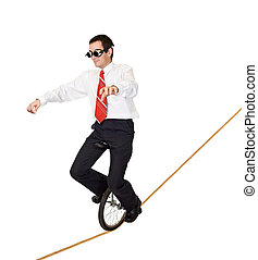 Extreme sport or reckless business - Businessman riding on...