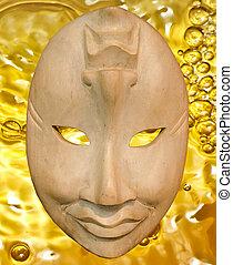Shiny mask on bubble background