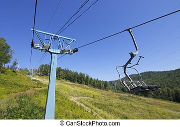 chairlift at a ski resort on Lake Baikal, Russia.