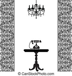 telephone, table and chandelier