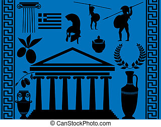Traditional symbols of Greece on blue background, vector...