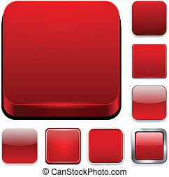 Square red app icons - Set of blank red square buttons for...