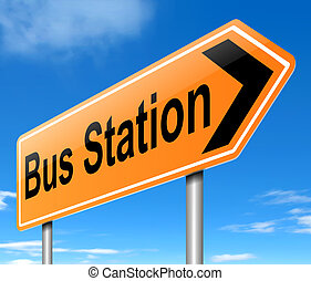 Bus station sign. - Illustration depicting a sign with...