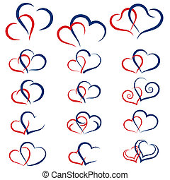 Set of symbols double hearts, vector