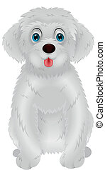 Cute white dog cartoon - Vector illustration of Cute white...