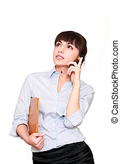 financial Advisor - beautiful business woman with telephone...