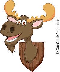 Moose head cartoon - Vector illustration of Moose head...