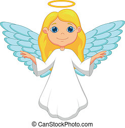 White angel cartoon - Vector illustration of White angel...