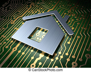 Safety concept: Home on circuit board background