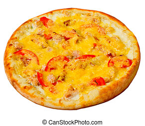 pizza appetizing with cheese isolated on white background...