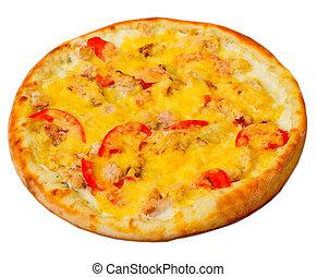 pizza, apetitoso, queso, aislado, blanco, Plano de fondo,...