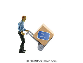 man with trolley and free shipping