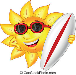 Cute sun cartoon character with sur