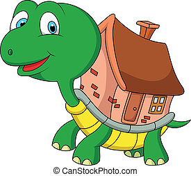 Turtle cartoon with shell house - Vector illustration of...