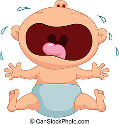 bebê, Menino, caricatura, chorando