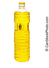 sunflower oil in a plastic bottle isolated on white...