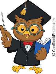 Owl wearing a graduation uniform gi - Vector illustration of...