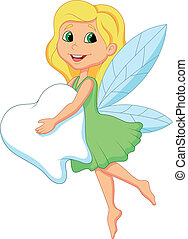 Cute Tooth Fairy flying with Tooth - Vector illustration of...