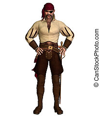 Old Pirate - Old pirate with eye patch and bandana, 3d...
