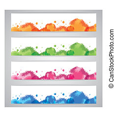 Set abstract watercolor background
