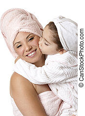 Mother daughter at bathtime - Smiling mother and daughter at...