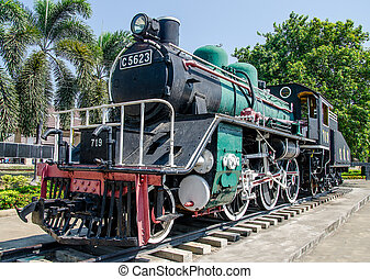 Old steam train on the track