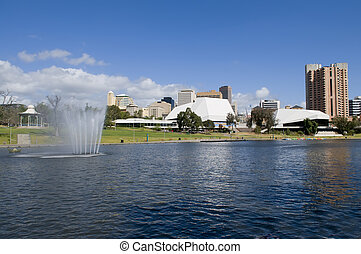 Adelaide - View of Adelaide skyline from northern side of...