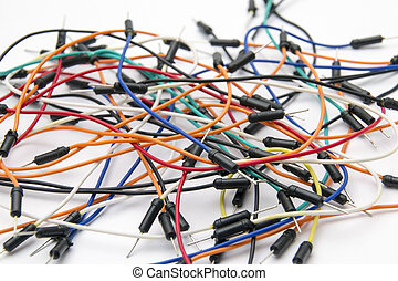 Breadboard Jumper Cable Wires close up on white background