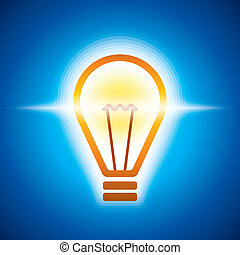 glowing bulb in bluish light