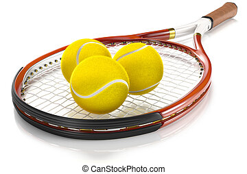 Tennis Racket with Tennis Balls - High detailed 3D tennis...