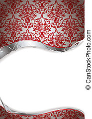 twisted vine - Red and silver abstract background with copy...
