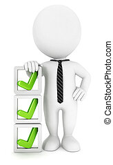 3d white people checklist, isolated white background, 3d...
