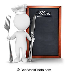 3d white people chef with menu, isolated white background,...